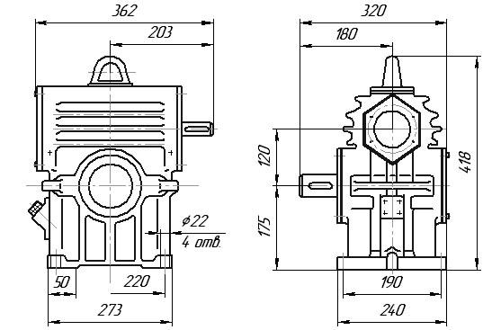 Габаритные и присоединительные размеры: РЧН-120