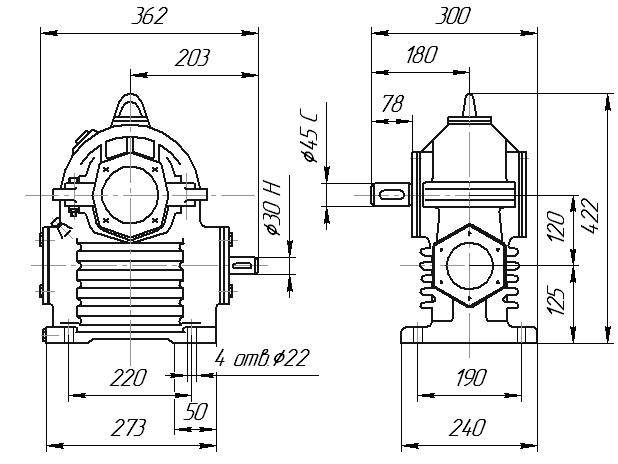 Габаритные и присоединительные размеры: РЧП-120