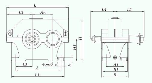 Габаритные и присоединительные размеры: редуктора ЦУ-160, 200, 250